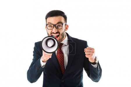 Photo for Irritated businessman with megaphone showing fist isolated on white - Royalty Free Image