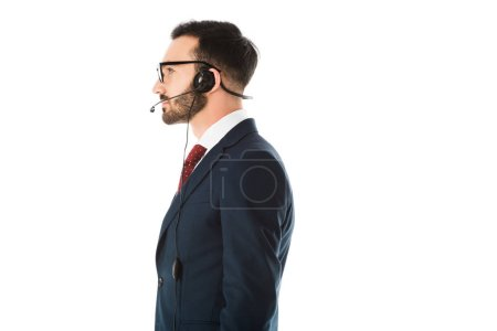 Photo for Side view of handsome call center operator in headset isolated on white - Royalty Free Image