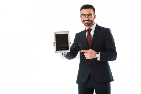 Photo for Smiling businessman pointing with finger at digital tablet with blank screen isolated on white - Royalty Free Image