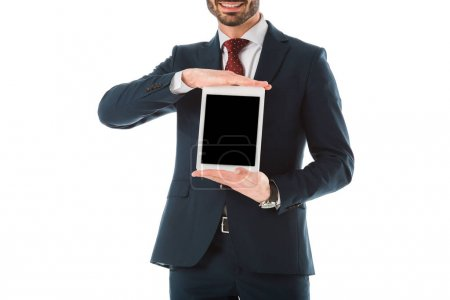 Photo for Cropped view of smiling businessman holding digital tablet with blank screen isolated on white - Royalty Free Image