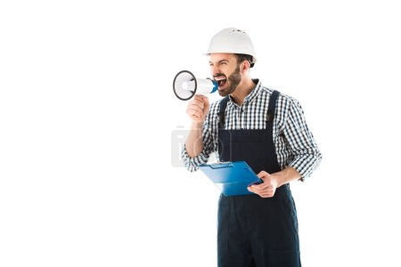Photo for Angry foreman screaming in megaphone while holding clipboard isolated on white - Royalty Free Image