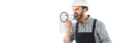 Photo for Panoramic shot of angry foreman screaming in loudspeakers isolated on white - Royalty Free Image