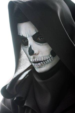Photo pour Femme coûteuse avec maquillage du crâne regardant loin isolé sur blanc - image libre de droit