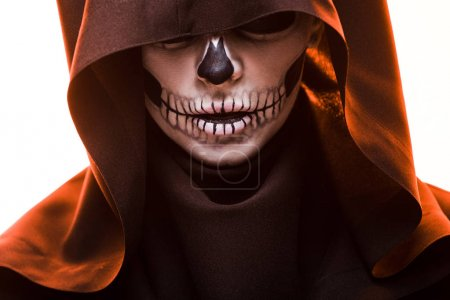 Woman with skull makeup in death costume isolated ...