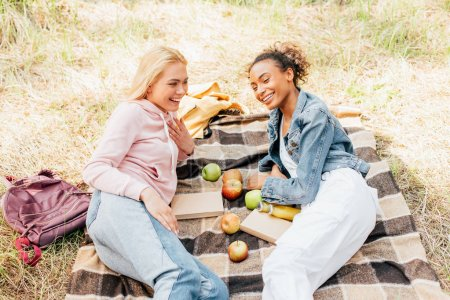 Photo for Two smiling multiethnic friends on plaid blanket with apples - Royalty Free Image