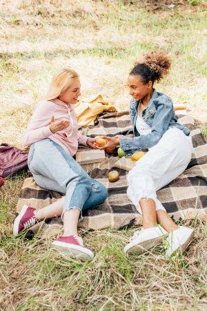 Photo pour Deux amis multiethniques souriants regardant l'un l'autre sur la couverture à carreaux avec des pommes - image libre de droit