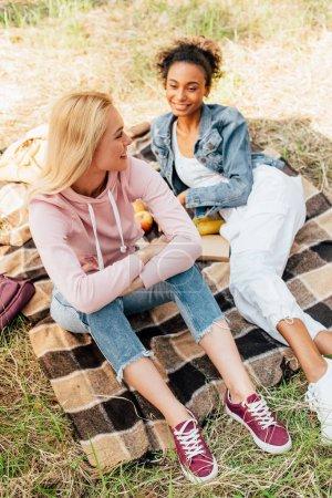 Photo pour Deux amis multiethniques riants s'asseyant sur la couverture à carreaux dans la forêt - image libre de droit