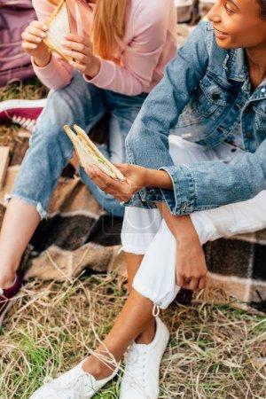 Foto de Vista parcial de dos amigos multiétnicos comiendo sándwiches en picnic - Imagen libre de derechos