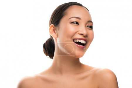 smiling asian girl with perfect skin, isolated on white