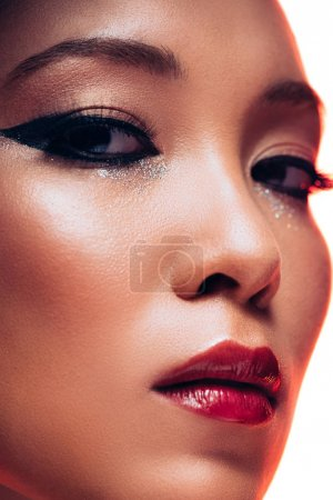 Photo for Close up of beautiful asian woman with makeup, isolated on white - Royalty Free Image