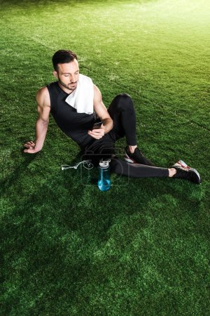 overhead view of handsome man using smartphone while sitting on grass