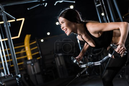 Photo for Strong athletic woman in sportswear exercising in sports center - Royalty Free Image