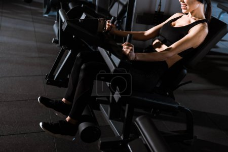 Photo for Cropped view of athletic woman exercising on training apparatus in gym - Royalty Free Image