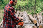 concentrated lumberer in earmuffs and protective glasses cutting wood with chainsaw in forest