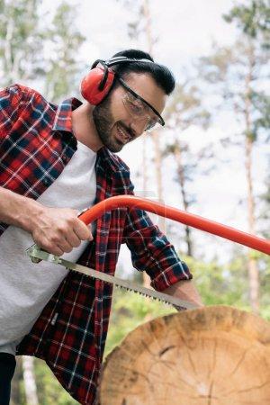 Photo pour Bûcheron souriant dans des cache-oreilles coupant le tronc d'arbre avec la scie à arc dans la forêt - image libre de droit