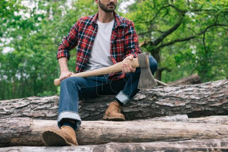 Photo for Partial view of lumberjack holding ax while sitting on logs in forest and holding ax - Royalty Free Image