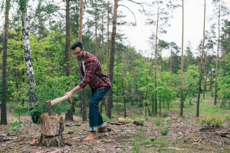 Photo for Bearded lumberman in plaid shirt and denim jeans cutting wood with ax in forest - Royalty Free Image