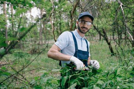 Photo pour Jardinier de sourire dans des glaces protectrices et le chapeau regardant l'appareil-photo tout en élachant des buissons avec le trimmer dans le stationnement - image libre de droit