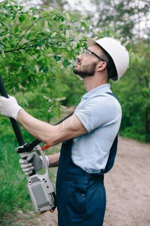 Photo pour Jardinier attentif dans le casque et les verres protecteurs coupant des arbres avec la scie télescopique de poteau dans le jardin - image libre de droit