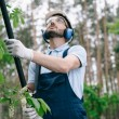 attentive gardener in protective glasses and hearing protectors trimming trees with telescopic pole saw in garden