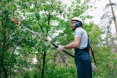 smiling gardener in overalls and hearing protectors trimming trees with telescopic pole saw in park
