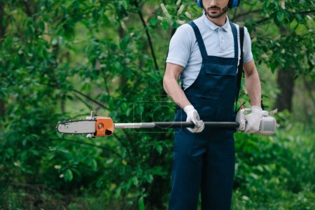 Photo for Cropped view of gardener in overalls holding telescopic pole saw in garden - Royalty Free Image