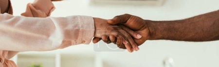 Photo pour Cropped view of african american woman shaking hands with african american handyman, panoramic shot - image libre de droit