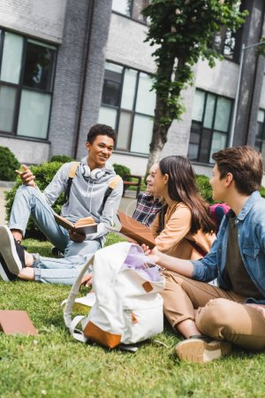 Photo for Smiling and happy teenagers sitting on grass, talking, holding books - Royalty Free Image