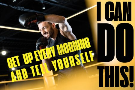 Photo pour Vue à faible angle de l'homme barbu et fort boxe dans la salle de gym avec se lever tous les matins et vous dire que vous pouvez faire cette illustration - image libre de droit