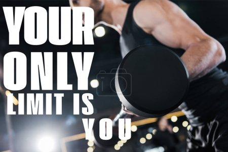 Photo for Selective focus of strong man exercising with heavy barbell in gym with your only limit is you illustration - Royalty Free Image