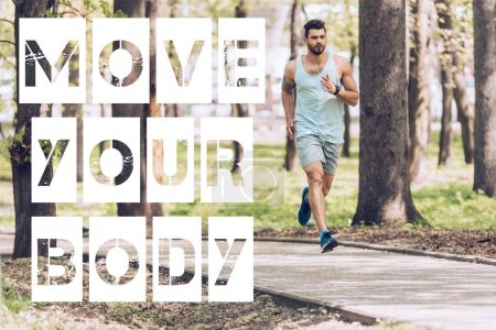Photo for Handsome man in sportswear running along walkway in sunny park with move your body lettering - Royalty Free Image