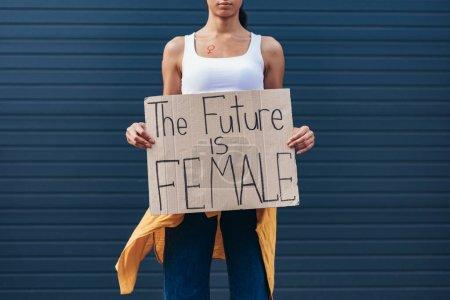 Photo pour Vue recadrée de la plaque de fixation féministe avec l'inscription de l'avenir est féminin - image libre de droit