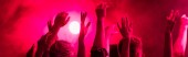 """Постер, картина, фотообои """"panoramic shot of back view of people with raised hands during rave party in nightclub"""""""