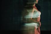 """Постер, картина, фотообои """"движение размытие девушки в кружевном белом белье возле деревьев"""""""