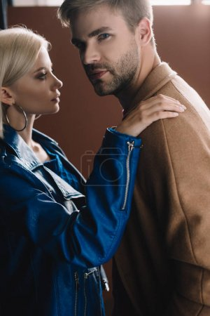Photo for Stylish young woman and man in autumn clothes - Royalty Free Image