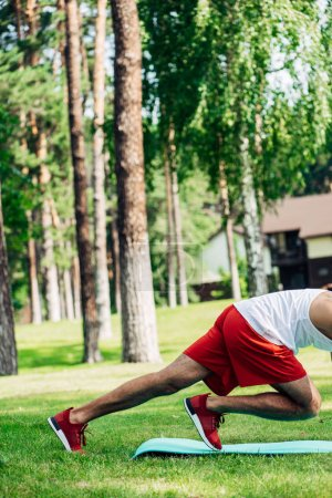 Photo for Cropped view of sportsman working out on fitness mat in park - Royalty Free Image