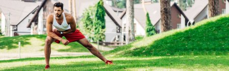 Photo for Panoramic shot of handsome man warming up while exercising on lawn - Royalty Free Image