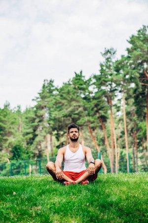 Photo pour Bel homme barbu assis dans les jambes croisées sur la pelouse verte - image libre de droit