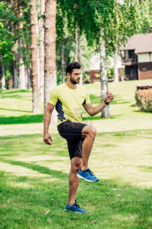 handsome bearded man exercising on green lawn