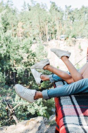 Photo pour Vue recadrée de l'homme et de la femme se trouvant sur la couverture de plaid dans les bois - image libre de droit