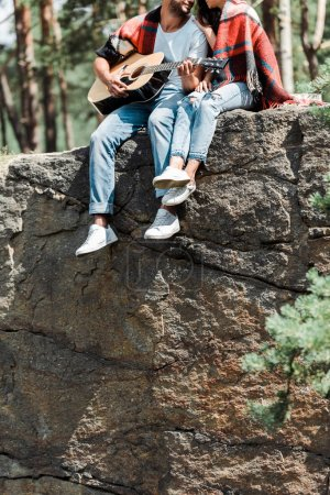 Photo pour Vue recadrée de l'homme jouant la guitare acoustique près de la femme dans les bois - image libre de droit