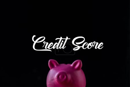 pink piggy bank near credit score lettering on black