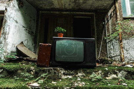 Photo for Retro tv near travel bag on green stairs with mold - Royalty Free Image