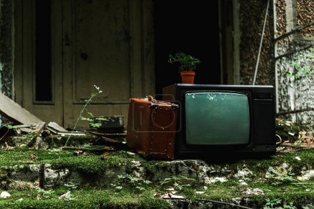 retro tv near vintage suitcase on green stairs with mold