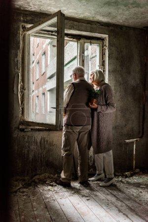 Photo pour Femme aînée retenant l'usine verte et restant avec le mari près des fenêtres - image libre de droit