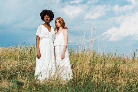 Photo pour Jeunes femmes attirantes et multiculturelles debout dans le domaine - image libre de droit