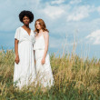 young attractive and multicultural women standing in field