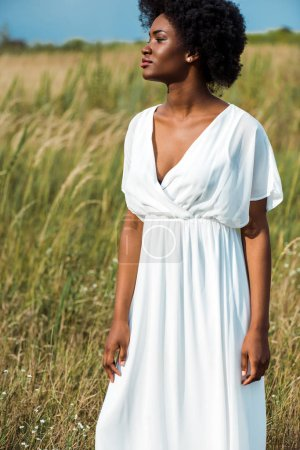 attractive african american woman in white dress in field