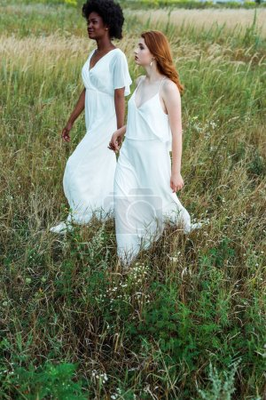 young and beautiful multicultural women holding hands in green field