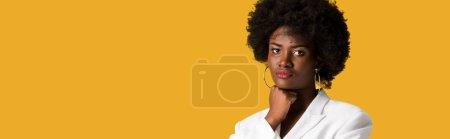 Photo pour Tir panoramique de la fille américaine africaine bouclée regardant l'appareil-photo isolé sur l'orange - image libre de droit